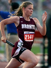 Bronte's Karen Davis - along with Brittany Bedford, Jordayn Berryhill and Jerica Davis - took first place in the 4x400 relay at the state track meet in a time of 4 minutes, 11.87 seconds.