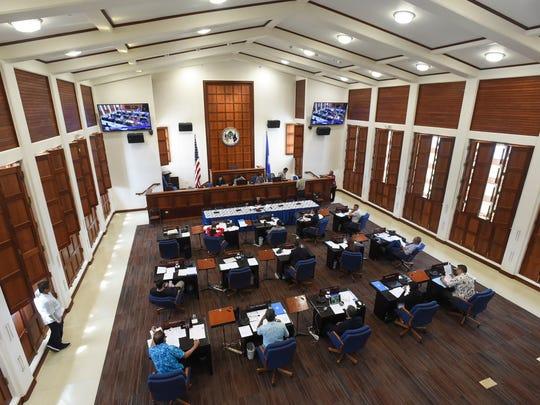 The 34th Guam Legislature during a session at the Guam Congress Building on Feb. 23, 2018.