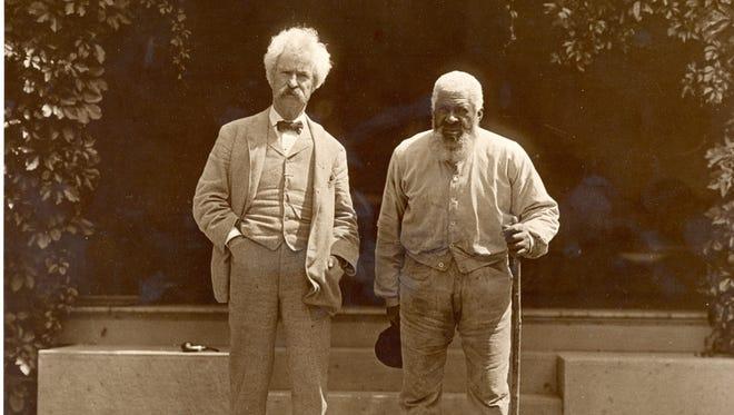 Samuel Clemens, aka Mark Twain, left, with John T. Lewis.