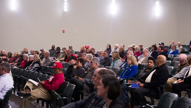 Montgomery County residents attend the first town hall meeting for the proposed consolidated government Tuesday at Northwest High School.
