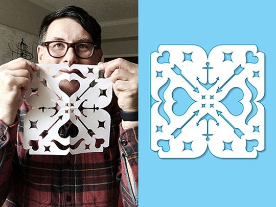 Artist and designer Eric Kass, of Funnel, holds the hipster snowflake he created.