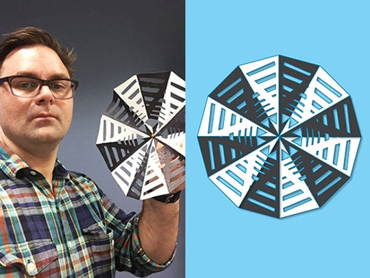 Scott Stulen, artist and curator of Audience Experiences and Performance at the Indianapolis Museum of Art, holds his snowflake.