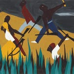"Jacob Lawrence, ""Toussaint L'Ouverture series, no. 38: Napoleon's attempt to restore slavery in Haiti was unsuccessful. Desalines, Chief of the Blacks, defeated Le Clerc. Black men, women, and children took up arms to preserve their freedom, November, 1802."" 1938, tempera on paper. Amistad Research Center, New Orleans, Louisiana, Gift of the Harmon Foundation, 1982"