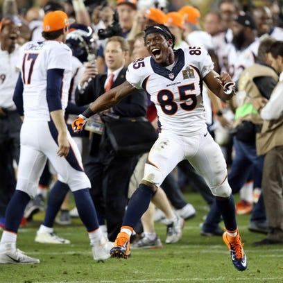 Denver Broncos tight end Virgil Green (85) celebrates