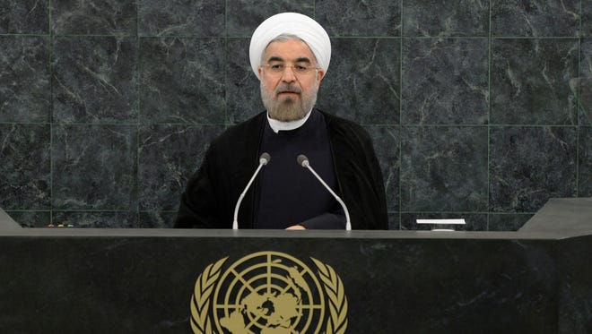 Iranian President Hasan Rouhani addresses the 68th United Nations General Assembly on Sept. 24, 2013, in New York.