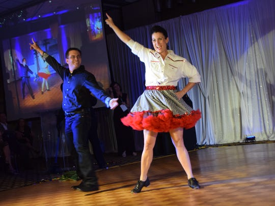 Andy Cutrer (left) and Kristy Zachary perform at Dancing with the Stars Cenla Style.