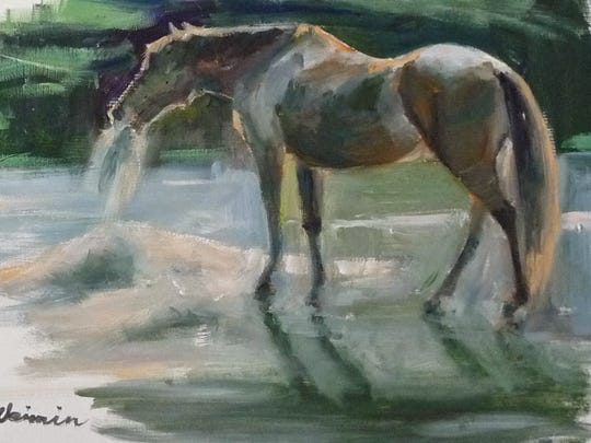 An oil painting of a filly.