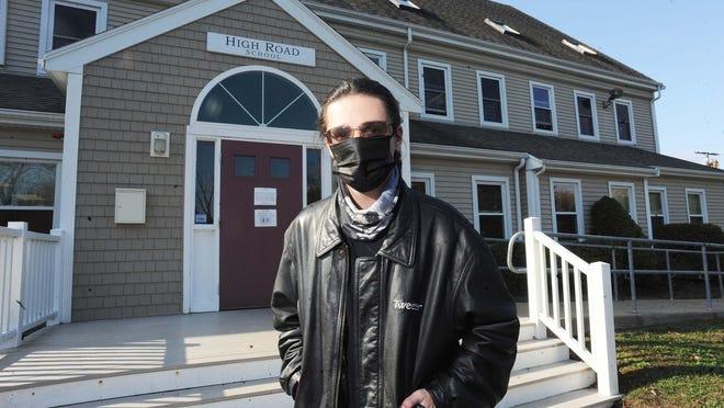 Student, Scott Pica-Hurld, 18, outside of the High Road School of Massachusetts on Friday, Oct. 23, 2020.