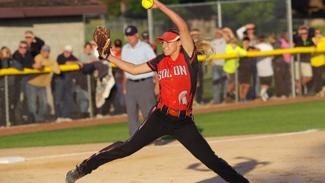 Solon pitcher Emily Ira winds up for a pitch during Solon's game against North Scott in the Class 3A Regional Final.