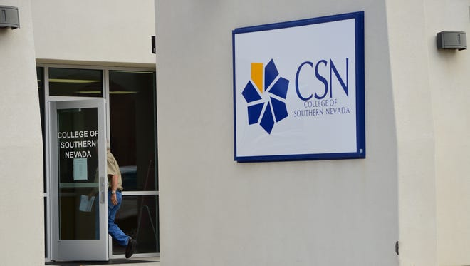 A man walks into the CSN Mesquite campus.