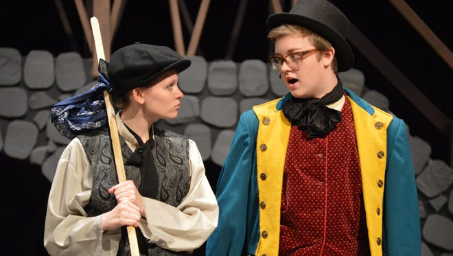 Hannah Reed as Oliver and Matthew Webb as Dodger.