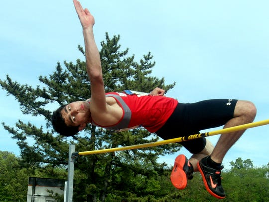 Michael Panzarino of Somers competes in the pentathlon high jump during day 2 of the 50th annual Loucks Games at White Plains High School May 12, 2017.