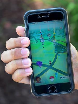 Pokemon Go on a cellphone