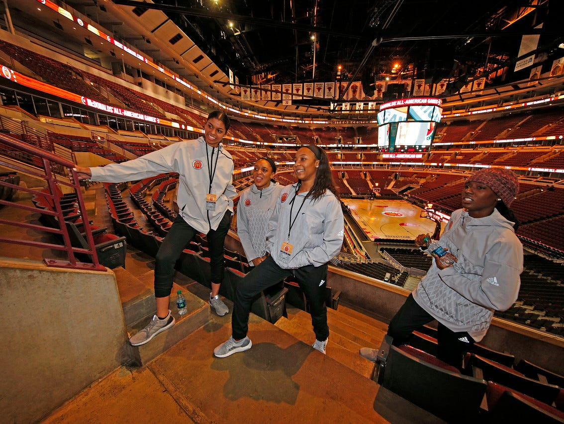 Tennessee signees, from left, Evina Westbrook, Kasi Kushkituah, Anastasia Hayes and Rennia Davis share a moment Tuesday at the United Center in Chicago.