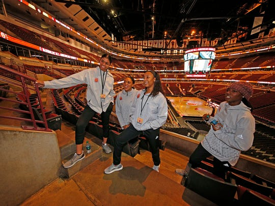 Tennessee signees, from left, Evina Westbrook, Kasi Kushkituah, Anastasia Hayes and Rennia Davis share a moment in March 2017 at  the United Center in Chicago.
