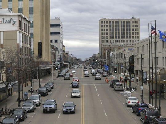 Downtown looking eastward along College AvenueThursday.