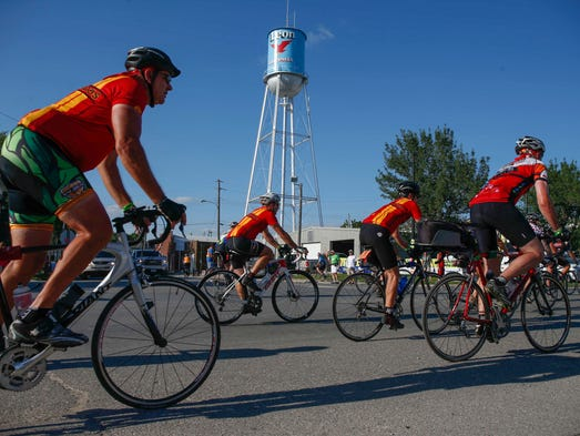 Riders roll into Leon during RAGBRAI on Tuesday, July