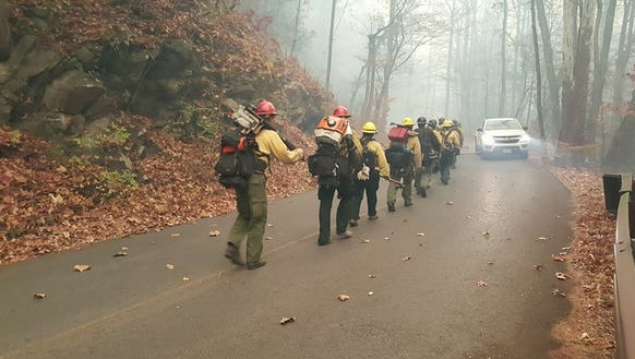 Firefighters work in the Great Smoky Mountains National