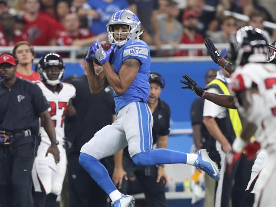 TJ Jones makes a catch against the Falcons in the third quarter of the Lions' 30-26 loss to the Falcons, Sunday, Sept. 24, 2017 at Ford Field.