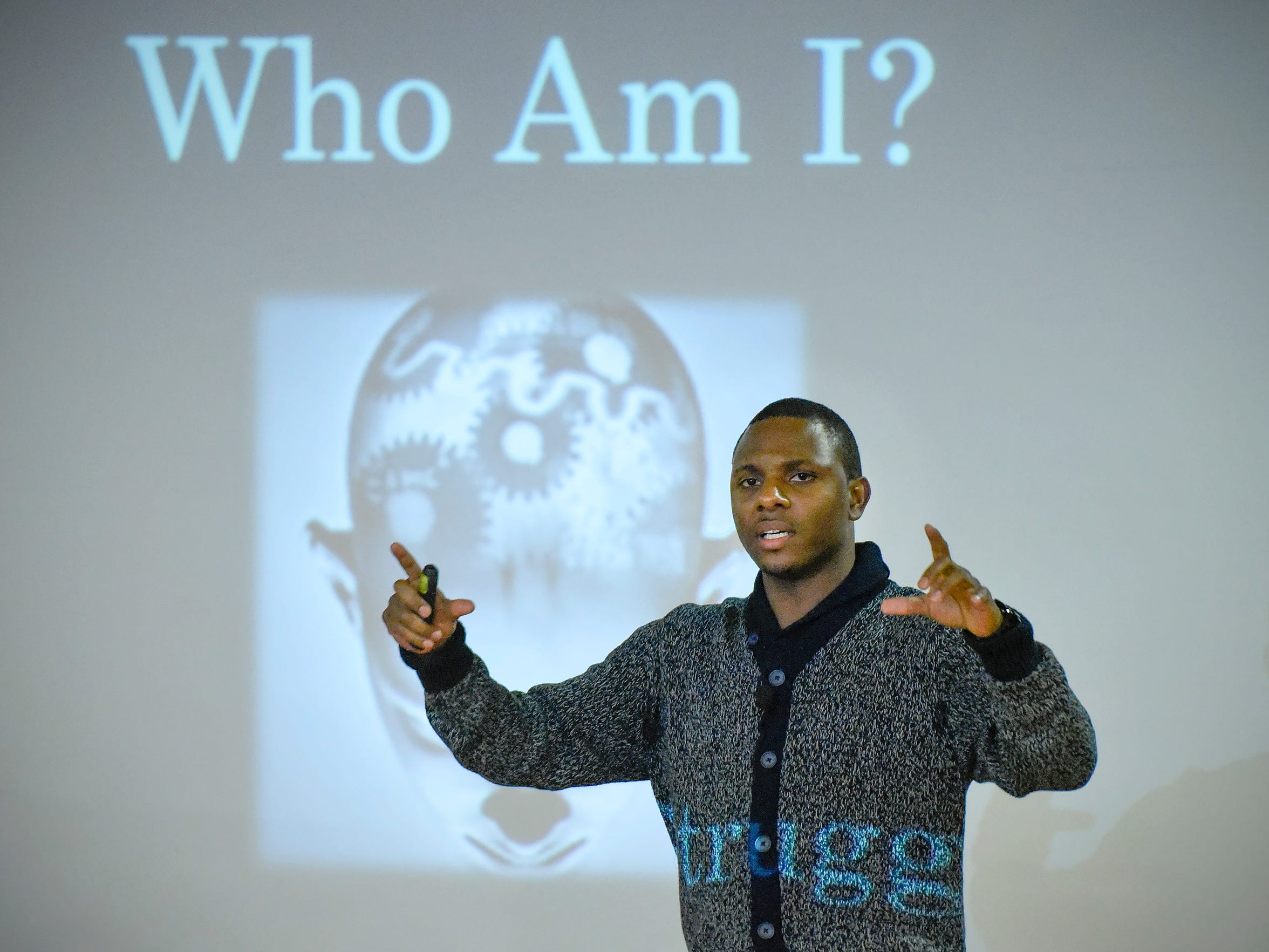 Elizer Darris talks about his 17 years in prison Wednesday, April 4, at St. Cloud State University. While in prison he earned his GED and a college degree.