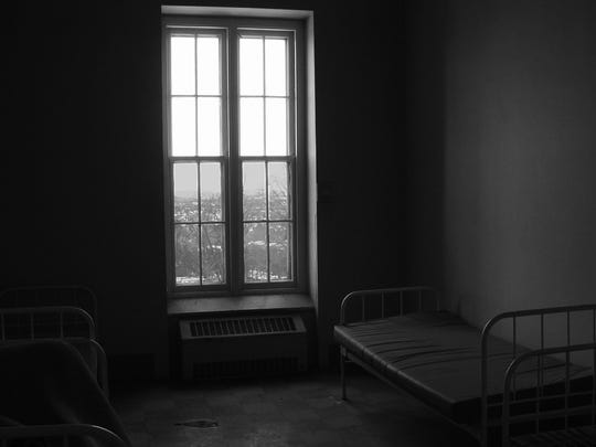 A patient room inside the former Binghamton State Hospital.