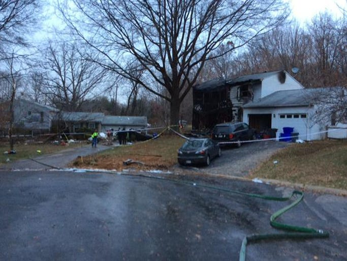 The scene where a plane crashed in Gaithersburg Monday