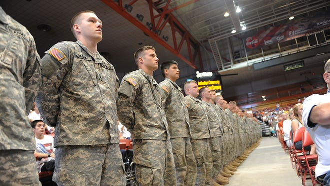 A deployment ceremony similar to this one will be held Saturday, Feb. 27, for members of the 196th Maneuver Enhancement Brigade.