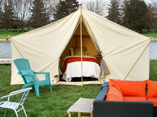 A peek at the glamping site at Indianapolis Motor Speedway, which offers upscale amenities for campers during the Indianapolis 500.