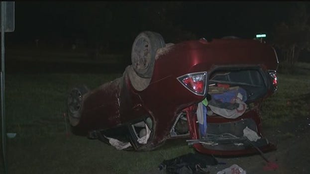 Authorities are searching for a man accused of abandoning a child at the scene of a rollover accident Sunday, July 20, 2014, in Montgomery County, Texas, authorities at the Texas Department of Public Safety said.