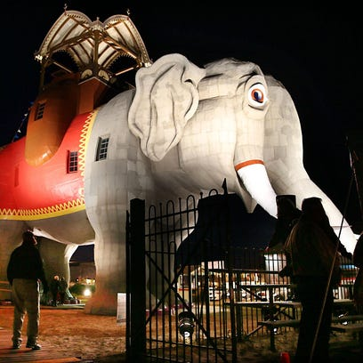 Margate landmark Lucy the Elephant is bathed in spotlights