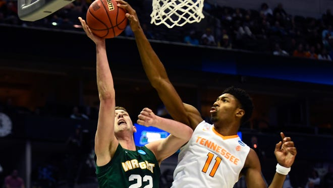 Tennessee forward Kyle Alexander (11) blocks Wright State center Parker Ernsthausen's (22) shot during the NCAA Tournament first round game between Tennessee and Wright State at American Airlines Center in Dallas, Texas, on Thursday, March 15, 2018.