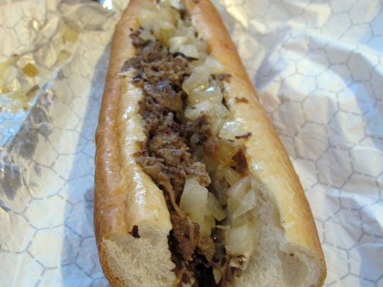 The Krukker Philly steak sandwich includes freshly sliced ribeye, American cheese, fried onions, ketchup and mayo at Kruk's Philly Steaks.