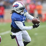 Bills cornerback Nickell Robey drops in coverage during a joint practice with the Cleveland Browns.