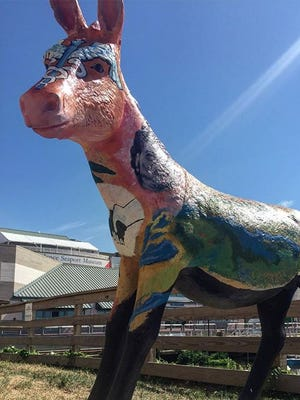 A donkey representing Mississippi is on display at Spruce Street Harbor Park in Philadelphia.