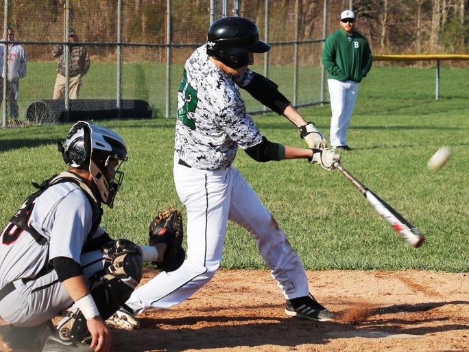 Batavia High School senior Austin Sammons makes contact during a 3-2 nine-inning home win over New Richmond April 16.