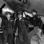Maj. Thomas Ferebee, right, and the Enola Gay crew in 1945.