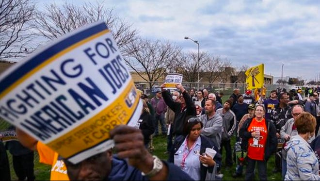 Carrier Corp. workers rallied at the west-side facility on March 23, 2016, to protest the impending loss of their jobs in a move of production to Mexico, starting in 2017.