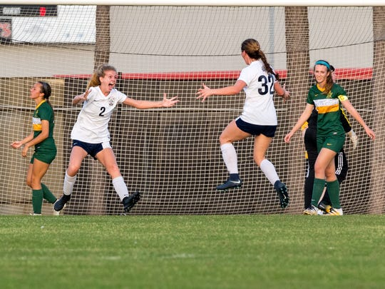 Mattie Marks celebrates after scoreing goal as the STM beats Central Lafourche 1-0 to win state soccer championship. Thursday, Feb. 22, 2018.