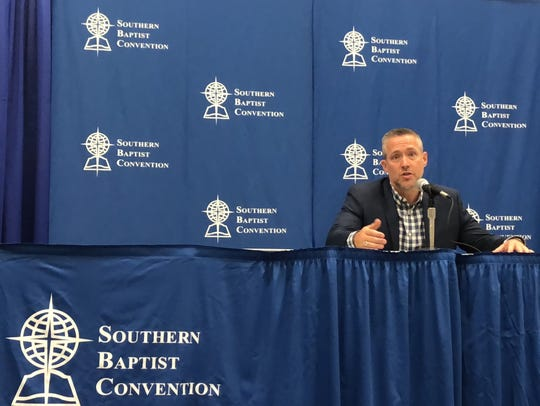 North Carolina Pastor J.D. Greear speaks at a news
