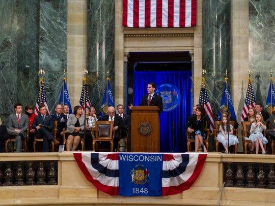 Wisconsin Gov. Scott Walker addresses the crowd after