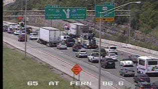 Traffic is crawling along I-65 north due to a cargo fire.