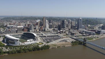 A view of Cincinnati's riverfront and two pro sports stadiums.