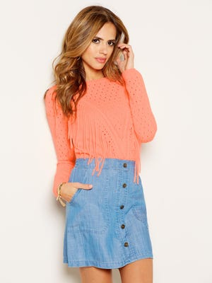 Gianni Bini Delores fringe sweater and Harlow button chambray skirt