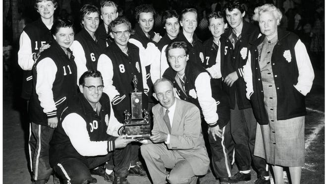 Pictured with 1959 Illinois Amateur Softball Association championship trophy that they won at Windmont Park are the Kewanee Ballhawks, who would follow up the state title with a second-place finish at the Midwest Regional.