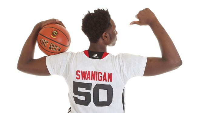 McDonalds High School All American athlete Caleb Swanigan (50) poses for pictures during portrait day at the Westin Hotel.