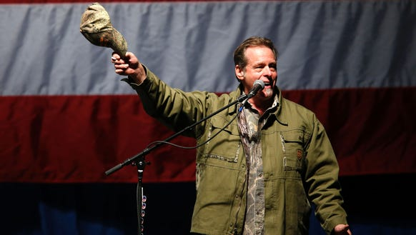Ted Nugent sings the National Anthem before  Republican