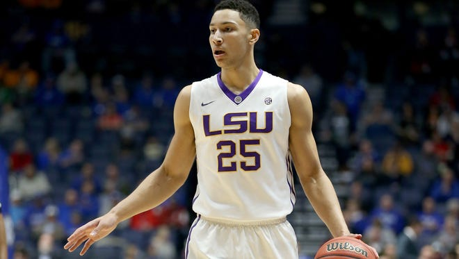 Ben Simmons #25 of the LSU Tigers dribbles the ball during the game against the Tennessee Volunteers during the quarterfinals of the SEC Basketball Tournament at Bridgestone Arena on March 11, 2016 in Nashville, Tennessee.  (Photo by Andy Lyons/Getty Images) ORG XMIT: 599970661 ORIG FILE ID: 514878568