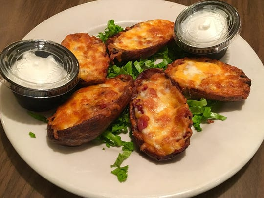 Potato skins at Spanky's are good sized half-potato