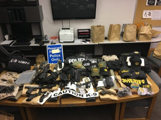 Law-enforcement gear seized from  David Heppler's home,