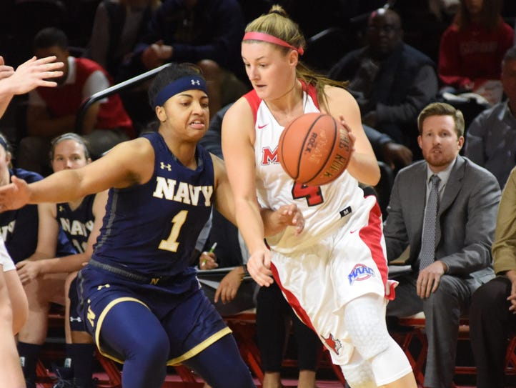Marist College's Allie Clement dribbles past Navy's